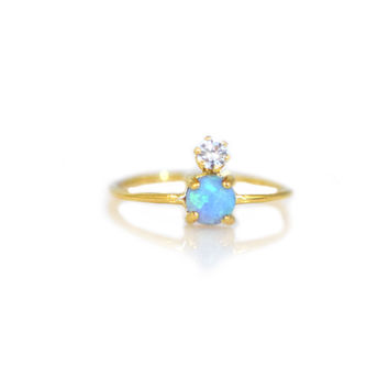 Double Dose Gold Ring (blue opal and diamond)