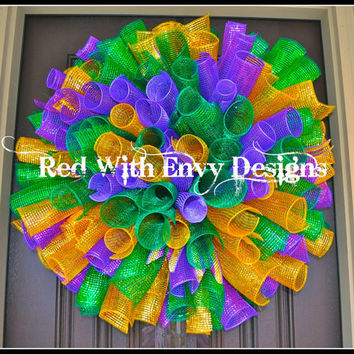 Mardi Gras Wreath, Wreath, Deco Mesh Wreath, Spiral Wreath, Curly Wreath, Mardi Gras, Mardi Gras Decoration
