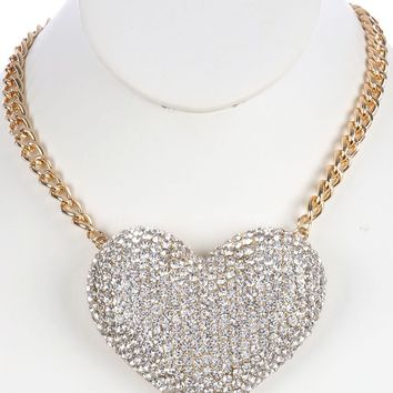 Clear Pave Crystal Stone Metal Heart Bib Necklace