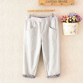 Summer Women Plus Size Elastic Waist Casual Short Capris Trousers Pockets Seven Pants Casual Loose Pants YY005