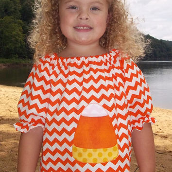 Candy Corn Chevron Halloween dress in Orange and White Chevron/Halloween/Girls Dresses/Appliqued clothing/Boutique clothing/Boutique dresses
