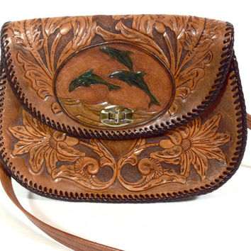 Hand Tooled Leather Purse Floral design with Dolphins Leather Shoulder Bag Boho Gypsy Satchel Artisan Leather Purse Southwestern Hippie