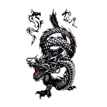 1Pcs Waterproof Temporary Tattoo Stickers Creative Design Black Dragon Fake Tattoo 3D Metallic Tattoo For Men Women Body Art