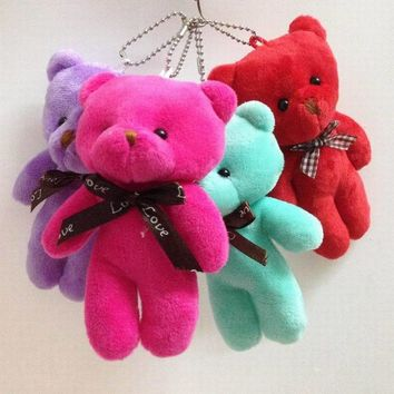 """Retail 4pcs 5.1"""" Lovely Siamese Teddy Bear With Bow Plush Pendants Toys Key chain/Bouquet/Phone/Bag/Decorative Accessories gift"""