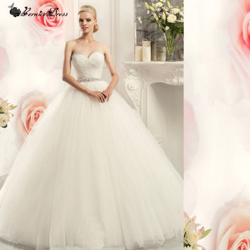 Princess Ball Gown Pretty Tulle Wedding Dress With Detachable Sash Vestidos De Novia Casamento Bride Wedding Dresses 2017 New