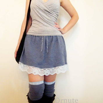 Wool Sweater Skirt/ Bum Warmer/Women's Drawstring Lace Mini Skirt//  Denim Blue// Ready to Ship
