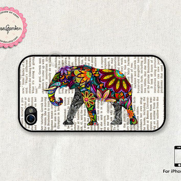 iPhone 4 Case, iPhone 4s Case, iPhone Case, iPhone Hard Case, iPhone 4 Cover, iPhone 4s Cover, Colorful Elephant
