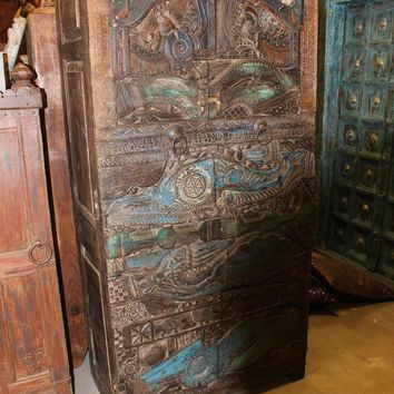 Beautiful Wood Carving Antique Armoire Cabinet Stunning Original Art Deco Double Door Wardrobe
