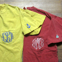"Comfort Colors Monogrammed Pocket T-shirt with a ""What Not"""