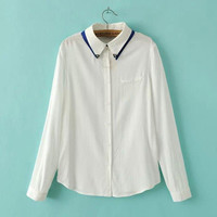 Beading Chain Peter Pan Collar Long-Sleeve Button Shirt