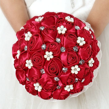 red handmade Wedding bouquet flower Silk pearl diamond Bride Hands Holding Rose Flower Wedding Bridal Bridesmaid Flower = 1930101252
