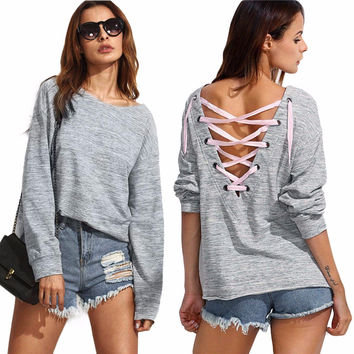 2017 European Style Women T shirts 2016 Fashion  T-Shirt Solid Backless Bandage Autumn Long Sleeve Tshirt  Sexy Grey Harajuku