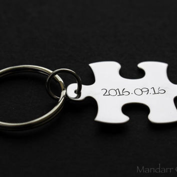 Anniversary Date Puzzle Piece Keychain, Interlocking Hand Stamped Stainless Steel Tag, Fully Personalized Couples Gift