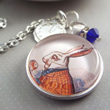 White Rabbit Necklace with Clock Charm, Glass Tile Pendant, Alice in Wonderland Jewelry