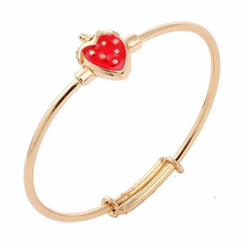New Cute Yellow Gold Color Red Strawberry Pave Clear CZ Bangles Bracelets For Baby Toddler Kids Children Girls Jewelry pulseras