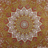 Red White Indian Star Mandala Dorm Decor Tapestry Wall Hanging Bedspread