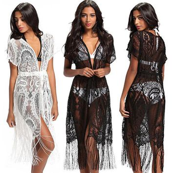 Women Lace Kimono Beach Cardigan Bikini Cover Up Wrap Beachwear Long Blouse