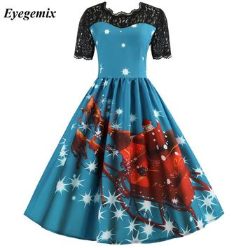 Women Retro Christmas Dresses Vintage Short Sleeve Midi Vestidos Plus Size Winter New Year Santa Claus Print Party Dress