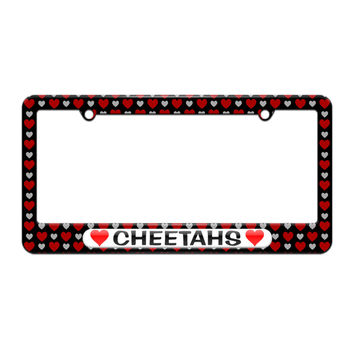 Cheetahs Love with Hearts - License Plate Tag Frame - Hearts Love Design