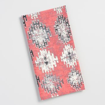 Coral Ikat Flour Sack Kitchen Towel
