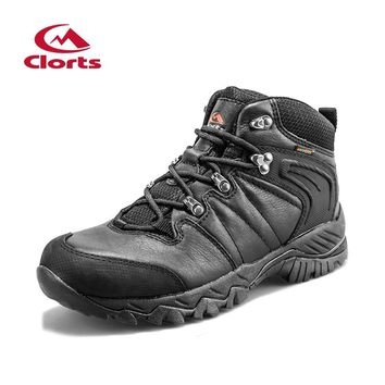 Clorts Women Men Hiking Boots Lover Black Hunger Game Real Leather Outdoor Hiking Shoes Waterproof Sport Sneakers HKM-822D