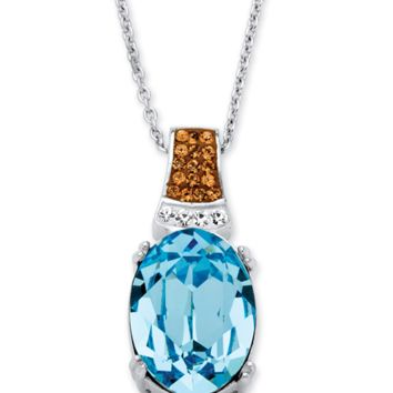 Palmbeach Jewelry Oval-Cut Aqua Crystal Pendant Necklace Made With Swarovski Elements Platinum Over Sterling Silver | Bluefly