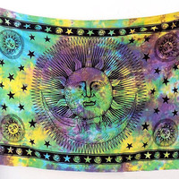 TWIN PSYCHEDELIC Hippie Sun Moon Cotton Fabric Tapestry Bohemian Wall Hanging Throw Tie Dye Bed Bedspread Boho Hippy Ethnic Home Decor