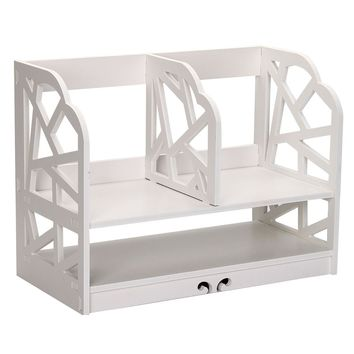 Home Office White Wooden Desk Tidy Stationery Pen Organiser Holder Shabby Chic Pattern:water cube