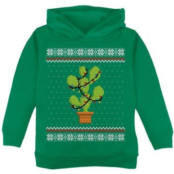 DCCKU3R Cactus Prickly Pear Tree Ugly Christmas Sweater Toddler Hoodie