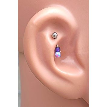 Purple Opal Rook Daith Eyebrow Piercing