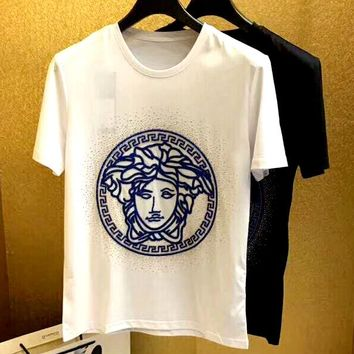 Versace 2019 new beauty head logo round neck short-sleeved T-shirt