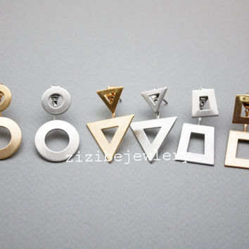Geometric Front and Back earrings,Circles ,Triangles, Squares Front and Back earrings in 2 colors, N0850G