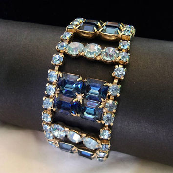 Vintage Sapphire Blue Glass Rhinestone Estate Art Deco Revival Gold Plate Geometric Wide Cuff Bracelet 7""