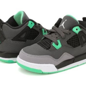 Nike Air Jordan 4 Retro Infants Toddlers Kids Shoes Grey/Black/Green 308500-033 (SIZE: 7.5)