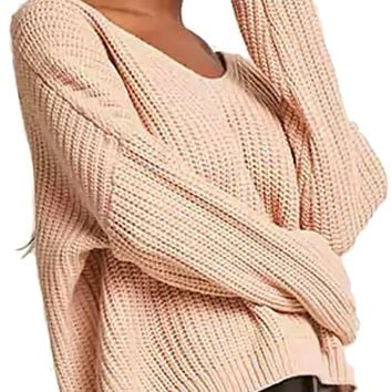 Knit Lace Up Back Sweater