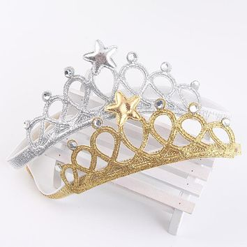 Girls Baby Hair Accessories Princess Tiaras Crown Gold Silver Headband Elastic Birthday Gift 2016 Headbands