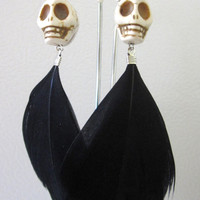 Skull Earrings Day of the Dead Earrings Black White Feather Earrings