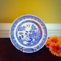 WILLOW SPODE Blue Room Transferware Plate, Vintage China Made in England Collectors Plate, Felix Vintage Market