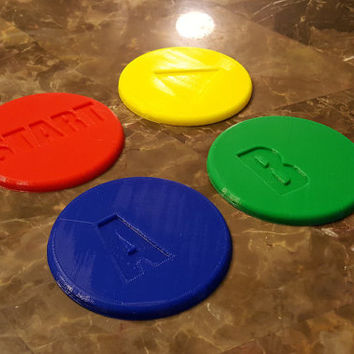 Vintage / Retro Video Game Console Button Coaster Set - Set of 4!