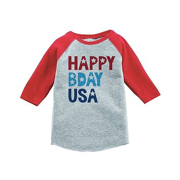 Custom Party Shop Kids Happy Bday USA 4th of July Red Baseball Tee 5T