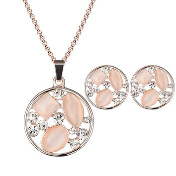 Women Crystal Jewelry Set Alloy Necklace Earrings Rhinestone