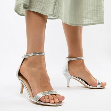 Glamorous Wide Fit Silver Barely There Kitten Heeled Sandals at asos.com