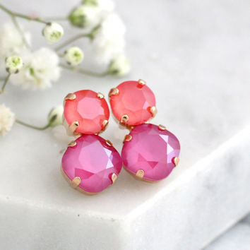 Pink Earrings, Pink Coral Crystal Earrings, Swarovski Pink Stud Earrings, Coral Pink Earrings Studs, Bridesmaids Earrings, Peony Pink Studs