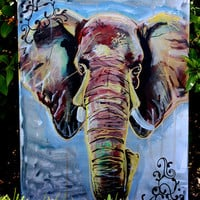 Acrylic Ornate Elephant Painting on Stretched Canvas