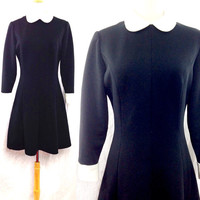 Vintage 70s Babydoll Peter Pan Collar Goth Rock Mod Sheath Dress