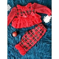 Laura Dare Christmas Sheer Sleeve Plaid Pajamas