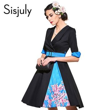 Sisjuly vintage dress 1950s style spring black print floral patckwork half sleeve women party dress elegant female vintage dress