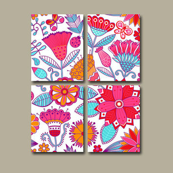 Nursery Wall Art Canvas Pottery Bold Red Pink Aqua Blue Orange Bedroom Decor Garden Ladybug Bird Butterfly Floral Set of 4 Prints Bedding