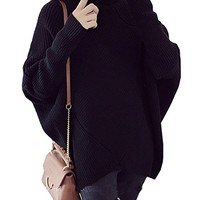 Women's Turtleneck Knitted Batwing Sleeve Tunic Sweatshirt Tops Sweater Jumper
