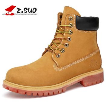 Yellow Men Boots Waterproof Cow Suede Leather Boots Lace Up Ankle Boots For Men High Quality Shoes Men